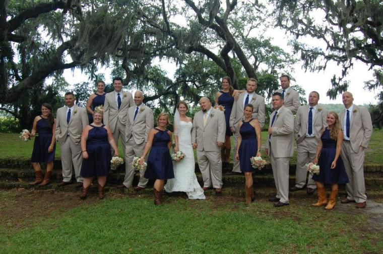 The wedding party looked great in their khakis and cowgirl boots! (I am not in this picture....but it is a LONG story...)