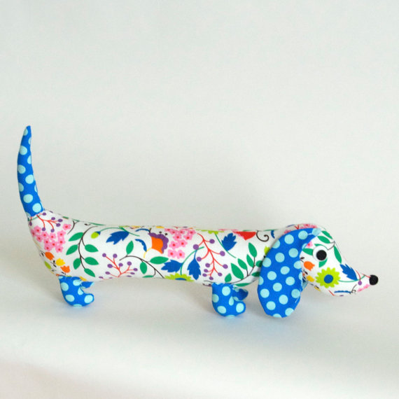 Friends of Socktopus https://www.etsy.com/listing/105605929/modern-floral-childrens-plush-wiener-dog?ref=col_view