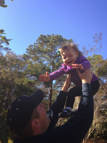 Addie loves when Daddy throws her in the air...but not too far!